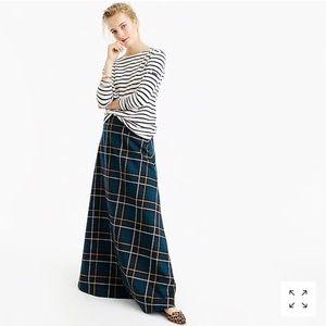 J.crew collection maxi skirt in tartan green blue